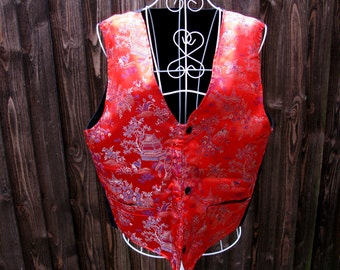 Chinese Waistcoat, Vintage Waistcoat, Satin Waistcoat, Mens Waistcoat, Willow Pattern, Red Waistcoat, Mens Formal Wear, Mens Vest, Prom