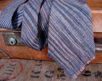 Pure New Wool Tie, Wool Tie, Welsh Tie, Welsh Necktie, Wool Necktie, Vintage Wool Tie, Woven Wool Tie, Striped Tie, Brown Tie, Mens Tie,