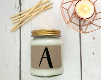 Monogram Print Scented Natural Soy Candle