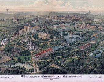 Nashville Vintage Map Art Print, Tennessee