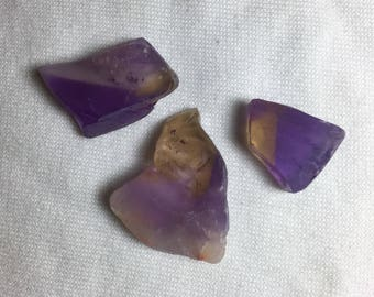 Bolivian Ametrine! (3) Natural Facet Rough Slabs/Pieces (8mm. Thick)! 147crt. Total!