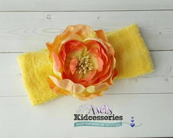 Yellow Terry Cloth Headband - Flower Baby Headband - Soft Stretchy Headband - Girls Headbands - Spring Headband - Hair Accessories