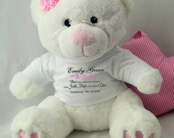 Personalised Christening/Baptism Pink Teddy Bear