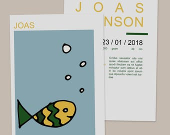 "Birth Announcement Card ""Fish"" // Digital Download // Print ready // Fish // Simple // Boy // Minimal"