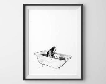 Bath Time, Girl Bathing, Girls Wall Art, Bathroom Decor, Minimalist Art, Black and White Art, Bathroom Wall Decor, Art Prints, Ink Art