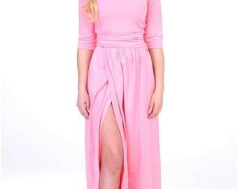 Blush Pinky Maxi Dress Slit 3/4 Sleeves