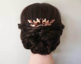 Rose gold hair pin, wedding hair piece, bridal hair pin, rose gold bridal hair piece, flower hair pin, wedding hair pin, pearl hair pin