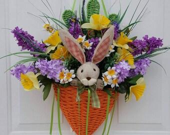 Easter Door Basket, Carrot Wreath, Easter Wreath, Easter Floral Wreath, Easter Decor, Easter Bunny Decor, Easter Floral Decor.