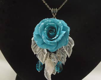 Frozen rose pendant gift for her turquoise rose polymer clay jewelry floral jewelry rose jewelry rose necklace flower pendant floral pendant