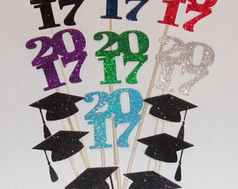 2017 Sign and Hat Centerpieces, 2017 Graduation Centerpiece Party Picks, 2017 Centerpiece, 2017 Party Decor, 2017 Sign, Graduation Hats