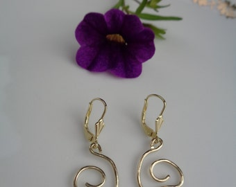 Earrings 585-er yellow gold with Freestyle spirals, unique, designer pieces