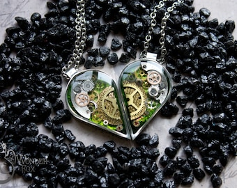 Green Heart - Set of Necklaces - Steampunk Heart Necklace - Mechanical Heart - Friendship necklaces for 2 - Lovers necklace