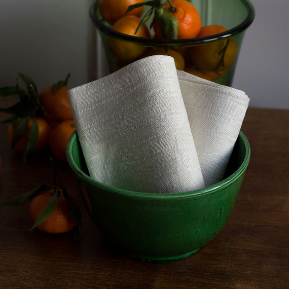 French Natural Linen Woven Kitchen Towels