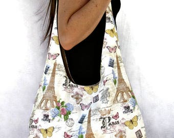Hobo Bag, Paris  Fabric Tote Bag,  Over The Shoulder Bag,  Slouch Bag, Purse.