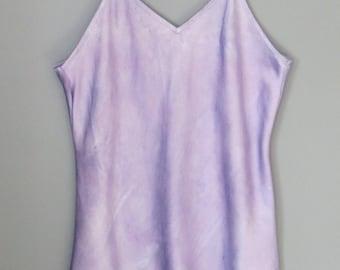 Silk camisole, size L, tank top, hand dyed silk blouse, silk pajamas, purple silk