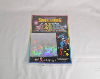 sealed Marvel Super Heroes Lazer Blazers 3-D Holographic stickers by ColorForms 1983 Captain America