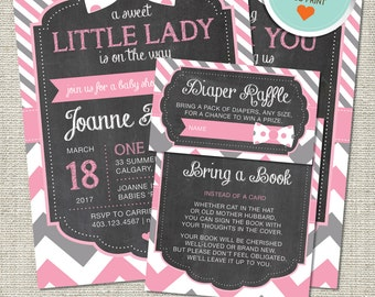 Little Lady Baby Shower Invitation, Little Lady Invitation, Little Lady, Pink, Gray, Stripes, Chevron | DIY