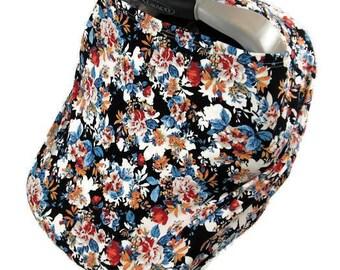 blue floral infant car seat cover, nursing covers, carseat canopy, girl nursing cover, baby nursing scarf floral, stretchy car seat