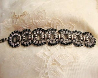 Black and White Rhinestone, Retro, Signed Designer Link Bracelet, Swarovski Crystals,Deco Style