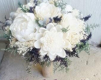Plum Silver Sola Bouquet, Plum Burlap Bouquet, Burlap Lace, Alternative Bouquet, Bridal Accessories, Keepsake Bouquet, Wedding Bouquet, Sola