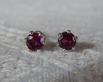 Pink Garnet 4mm Studs, Rhodolite Garnet Stud Earrings, Garnet Earrings, Garnet Posts, Garnet Post Earrings, January Birthstone, Pink Garnet