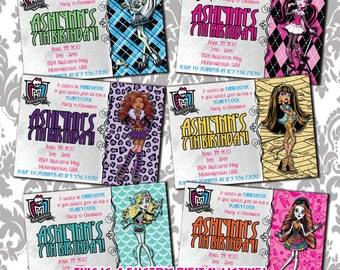 Monster High Birthday Invitations, DIGITAL