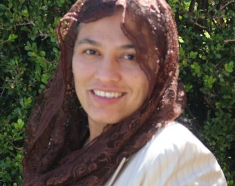 Brown Lace Mantilla Chapel Veil Infinity Scarf Head Covering