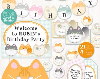 Cat party printable, EDITABLE party - cat party decor for cat birthday party - printable birthday: cat bunting, cat mask, cat banner