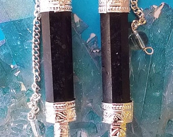 2 Large BLACK TOURMALINE Dowsing PENDULUM Divination Wands With Crystal Quartz Point, Chains, and 2 Velvet Storage Pouches
