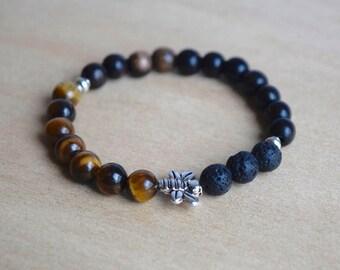 BEE PROTECTED // Tigers Eye Bracelet / Bee Bracelet / Save the Bees / Essential Oil Diffuser Bracelet / Yoga Bracelet / Meditation Bracelet