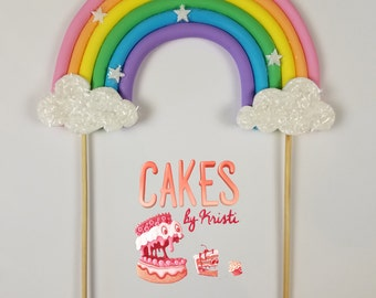 "Pastel Fondant Full Rainbow Cake Topper- 6"" (MADE TO ORDER)"