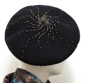 The Galaxy Swirl Embellished Black Beret French berets Wool Berets Hats