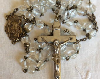 Vintage Clear Crystal Rosary 1940s