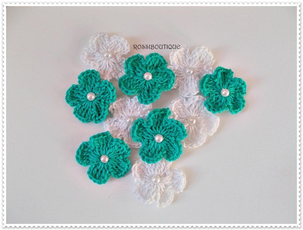 Crochet appliques crochet flowers appliques turquoise white - Appliques flos ...