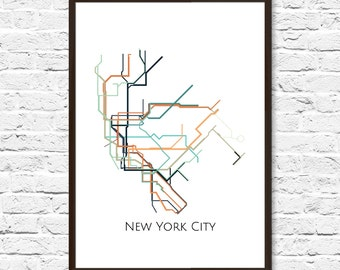 Large Map Art, New York Subway, New York Metro Map, Transit Map, NYC Map Art, New York Subway Map, Subway Poster Art