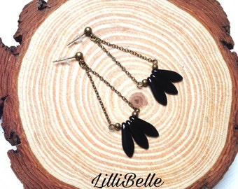 Brass earrings stalactites glass beads - jewelry Bohemian, ethnic, hippie, minimalist - gift idea for woman