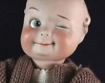 "RARE Gebruder Heubach porcelain doll,Goggly,Winker,bisque porcelain Head, 23cm/ 9.05"""
