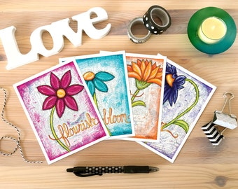 NOTECARD SET: Flourishes in Print 4 Card Set. Stationery Box Set. Greeting Card Set. Thank you. Gift for Her. Best Friend Gift. Gift for Mom