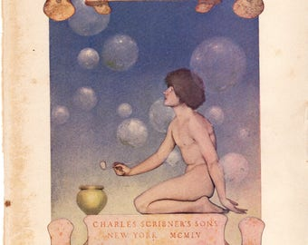 Authentic Antique Maxfield Parrish Print 1909 Poems of Childhood