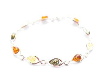 Amber Bracelet, Baltic Amber Bracelet, Amber Jewellery, Baltic Amber, Real Amber, Multicoloured Amber, Gemstone Bracelet, Colourful Jewelry