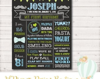 First Birthday Chalkboard Sign, little Man, lil man, First Birthday Board, 1st Birthday Chalkboard, mustache bash, printable, digital