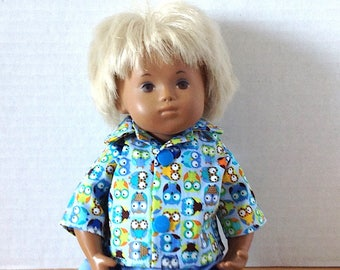 Sasha Doll Baby Boy 2 Piece Outfit - Shirt and Shorts Mini Owls - Hoo Hoo