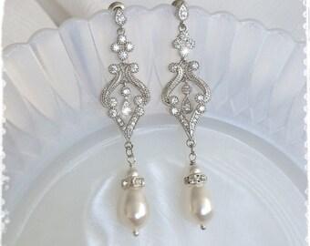 """1920s Art Deco Gatsby Inspired Bridal Crystal Pearl Drop Earrings-Downton Abbey Vintage Wedding Cubic Zirconia Chandelier Earrings-""""BELLE"""""""
