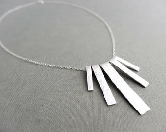 Silver fringe necklace - Sterling Silver necklace, hammered fringe necklace, minimal silver necklace, handmade silver necklace