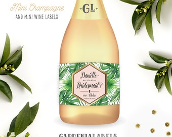 Mini Tropical Will You Be my Bridesmaid Champagne Labels, Destination Wedding Bridesmaid Proposal, Mini Wine Maid of Honor Thank You Gift