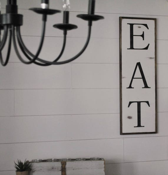 EAT 1X3 sign | farmhouse dining room wall decor | kitchen sign | shabby chic wooden art | framed modern rustic hand painted sign