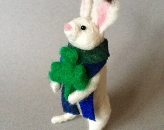 Needle felted white St. Patrick's Day rabbit with a green shamrock, needle felted animal, wool felt animal, St. Patricks day, Irish rabbit