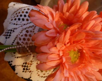 Coral gerbera daisy bouquet
