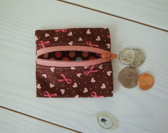 Breast Cancer Awareness Zippered Coin Pouch, Pink Ribbons, Change Purse, Gift for Her
