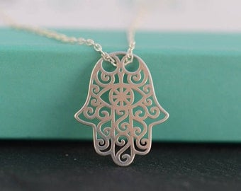 Hamsa Hand necklace. Fatima  Hand necklace. Sterling Silver Hamsa/Fatima necklace. Filigree Hamsa hand necklace. Meaningful jewelry